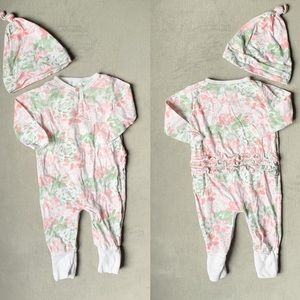 Pastel Floral Romper and Hat BURT'S BEES 6-9mo